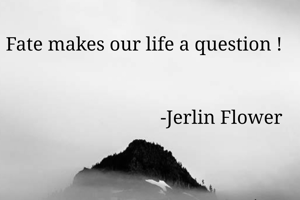 Fate makes our life a question !                                                                         -Jerlin Flower