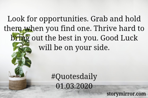 Look for opportunities. Grab and hold them when you find one. Thrive hard to bring out the best in you. Good Luck will be on your side.   #Quotesdaily 01.03.2020