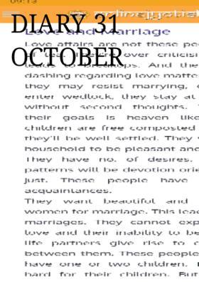Diary 31 October 2019