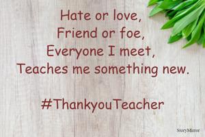 Hate or love, Friend or foe, everyone I meet, teaches me something new.  #ThankyouTeacher