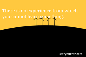 There is no experience from which you cannot learn something.
