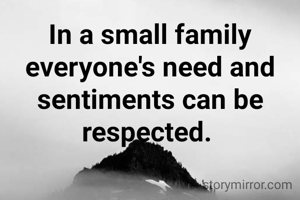 In a small family everyone's need and sentiments can be respected.