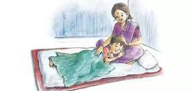 माँ की गोद में